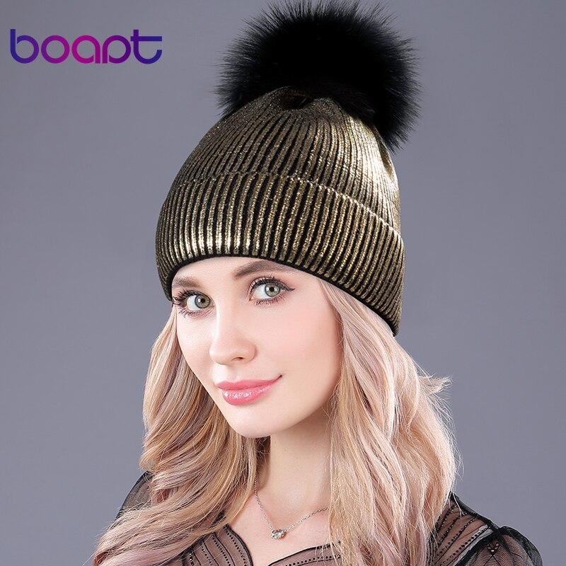 [Boapt] bronzing gold und silber mit kappen waschbär fell pompon hut für frauen winter stricken warme hüte weibliche skullies beanies
