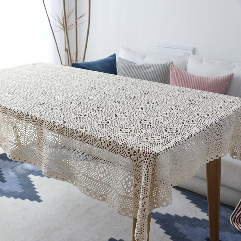 Pastoral Crochet Tablecloth Lace Hollow Out Cotton Table Cover Piano Towel Vintage DIY Dining Cloth For Kitchen Home Decor In Tablecloths From