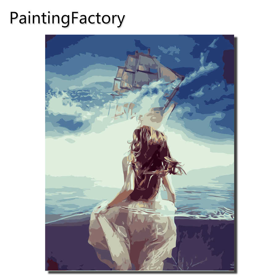 Painting By Numbers girl Frameworks coloring by numbers Pictures Home Decor canvas painting by numbers Decorations VA-0357