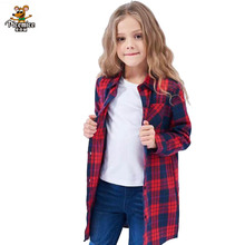 Girls Shirts Casual New 2020 Autumn Children's Tops With Pocket Outwear Child Long Clothing Cotton Kids Plaid Shirts 2-12 Years girls plaid blouse 2019 spring autumn turn down collar teenager shirts cotton shirts casual clothes child kids long sleeve 4 13t