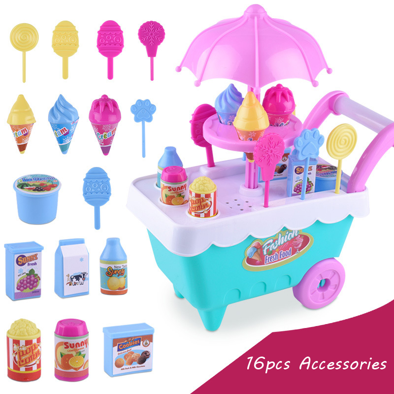 16Pcs Ice Cream Baby Stroller For Dolls Accessories Lol Girl Toys For Kids Gifts Stroller Doll Baby Toy Girls Assembly Trolley baby toys