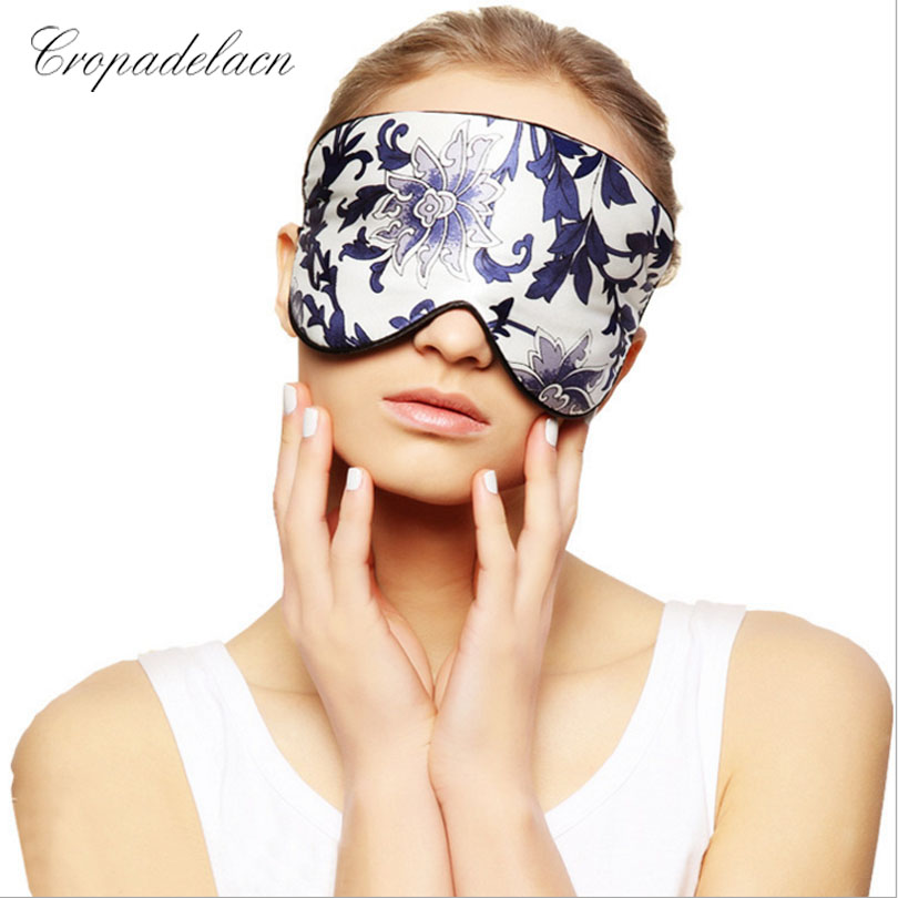 Blue and white Upscale Silk Portable Travel Sleep Eye Mask Rest Aid Soft Cover Eye Patch Eyeshade Sleeping Mask Case MR097 cute cartoon animal rabbit velvet sleep eye mask well rest aid normal eyeshade protection cover mr102