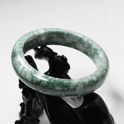 """01838 Certified Grade """"A"""" Natural Green Jadeite Jade Gems Bangle Bracelet"""