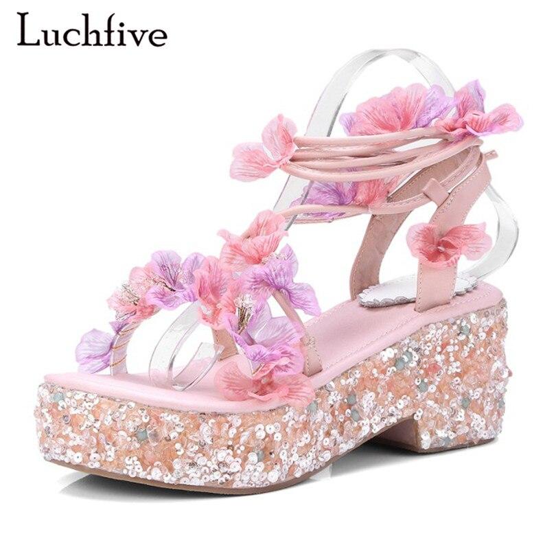 Фотография Paltform wedge heel sandals women rhinestone sequins flowers embellished cross tied summer sweet wedding shoes foor ladies