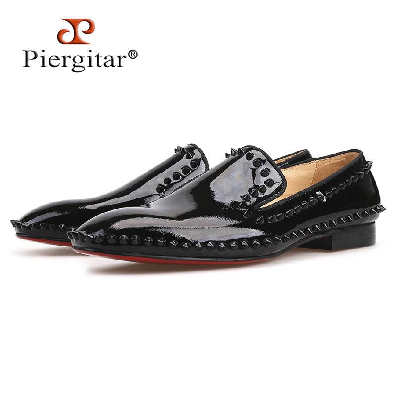 Piergitar 2018 new arrival Handmade Black Patent Leather men spiked shoes party and wedding red bottom men