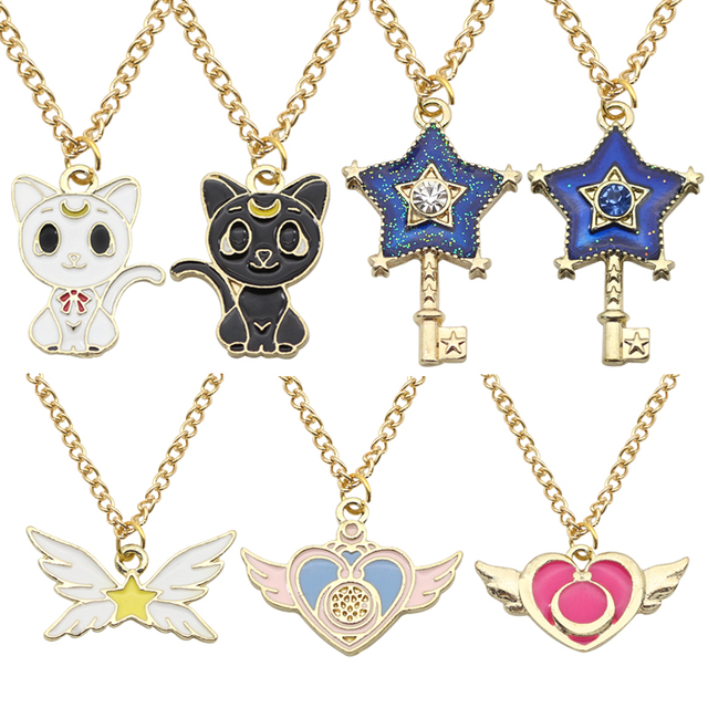 Sailor Moon Necklace Lovely Enamel Crystal Stars Wings Cat Star Key Heart Wings Charm Necklaces Pendants Anime Jewelry Colar