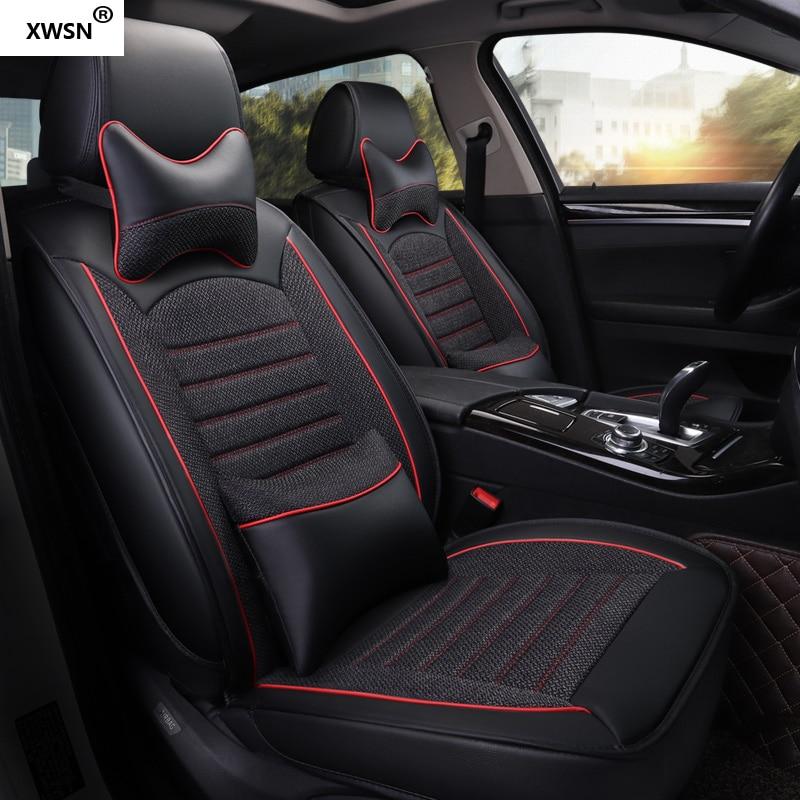 XWSN pu leather linen car seat cover for Nissan X-TRAIL QASHQAI LIVINA GENISS SYLPHY TEANA TIIDA TIIDA GTR Bluebir car styling
