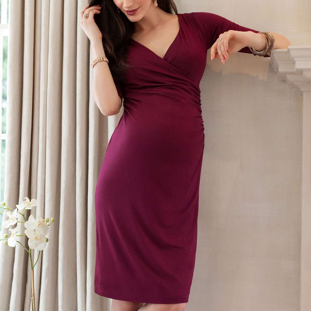 sheath maternity dresses Maternity clothes half sleeve V-neck Women Dress Pregnancy Vestido Bigsize S-3XL graceful v neck long sleeve solid color slimming women s bolero cardigan