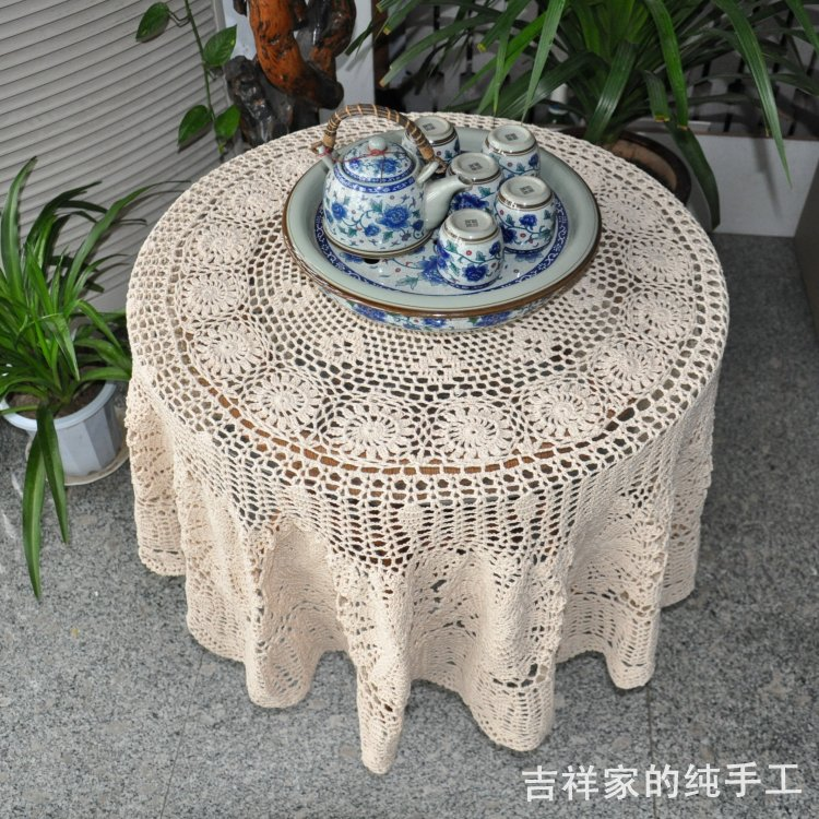 Free shipping cotton crochet lace tablecloth cover for coffee table dining table cloth cutout table cover