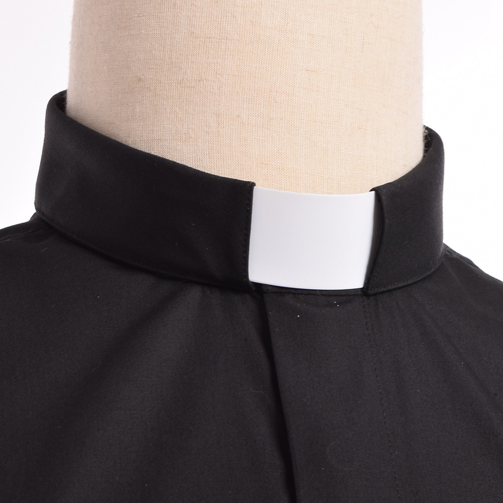 Image 3 - Priest Costume Clergy Tab Collar Shirt Men/Women Black Minister Preacher Priest Short Sleeve Tops-in Holidays Costumes from Novelty & Special Use