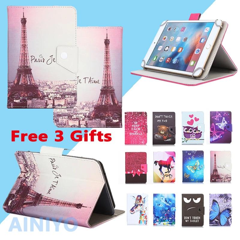 Funda Universal para 10,1 pulgadas Tablet Prestigio MultiPad zabio 3131 3G PMT3131_3G_D Universal cubierta de cuero de la PU + 3 regalos