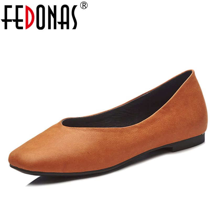 FEDONAS Shoes Woman Flats Heels Retro Loafers Spring Autumn Genuine Leather Shoes Slip on Casual Ballet Flats Shoes Black Brown fedonas retro black brown women flats heels shoes round toe buckles slip on new spring casual shoes women genuine leather shoes