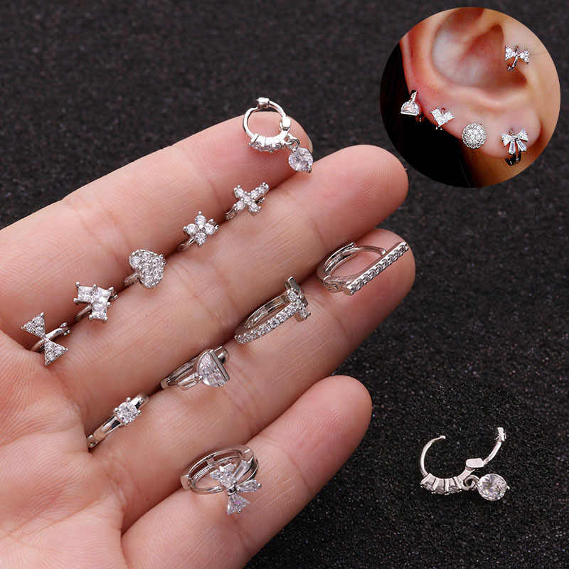 1Pc New Tiny Cartilage Hoop With Cubic Zirconia Flower Cross Heart Bow Small Tragus Hoop Earring Helix Piercing Jewelry