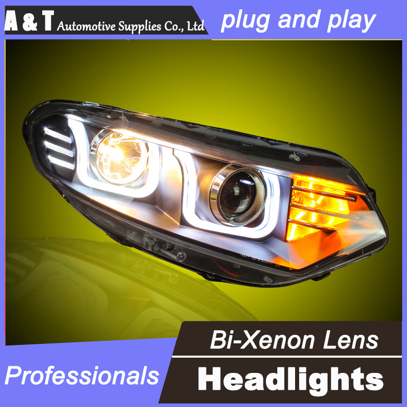 car styling For Ford EcoSport headlight assembly angel eyes 2013 For EcoSport bi xenon lens h7 with hid kit 2 pcs. new fuel pump assy m2n159h307aa for ford ecosport 2 0l 0580314006