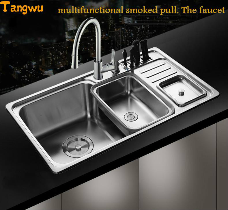 Tangwu 304 stainless steel sink single slot thickened kitchen ...