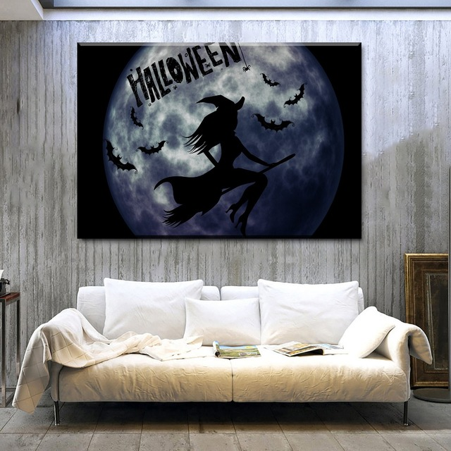 Bat Living Room Contemporary Wall Mural Canvas Home Art Decor Framework Hd Prints Poster 1 Pieces Halloween Witch Paintings Unique Gift Pictures