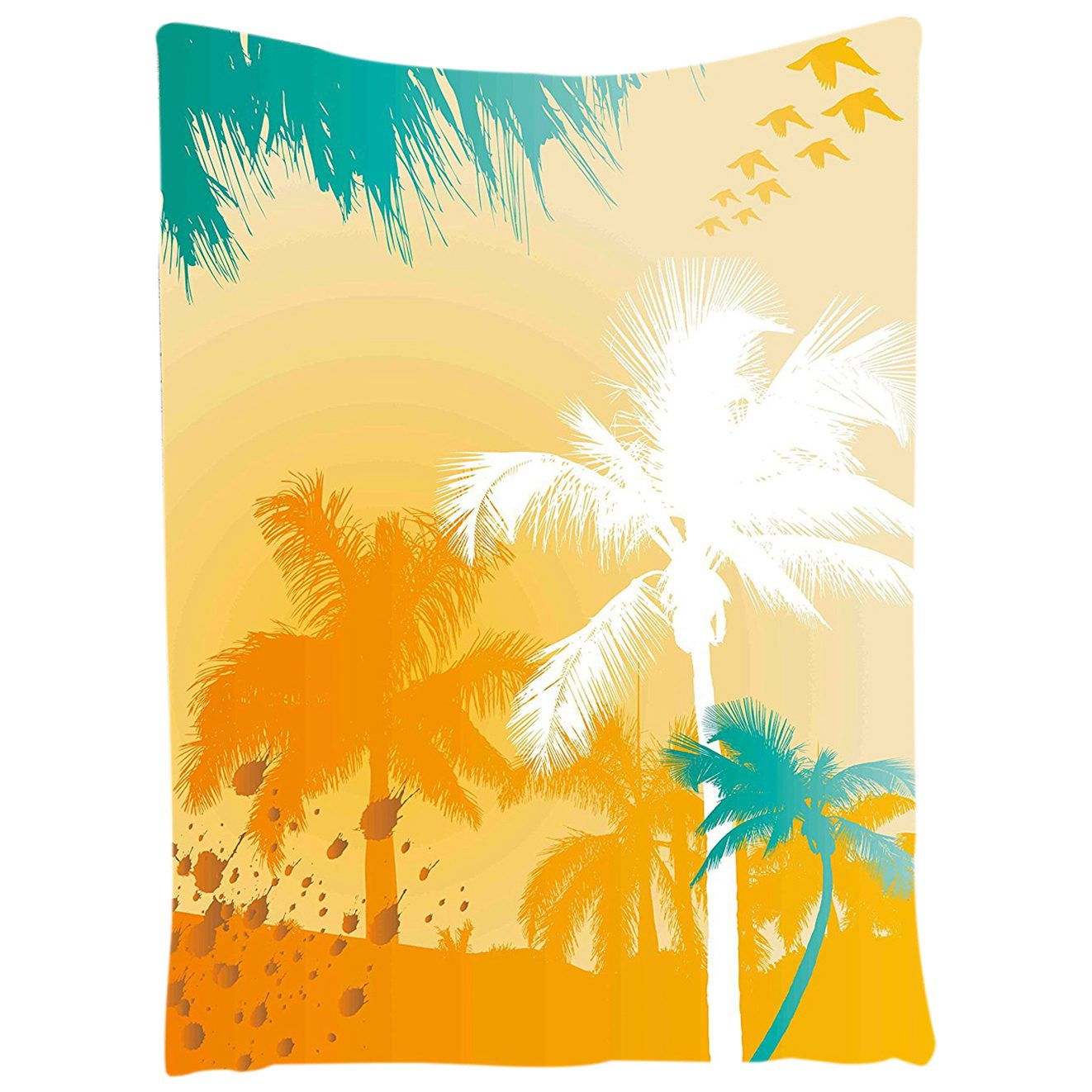 Tropical Tapestry Vibrant Palms Silhouette Paradise with Funky Retro ...