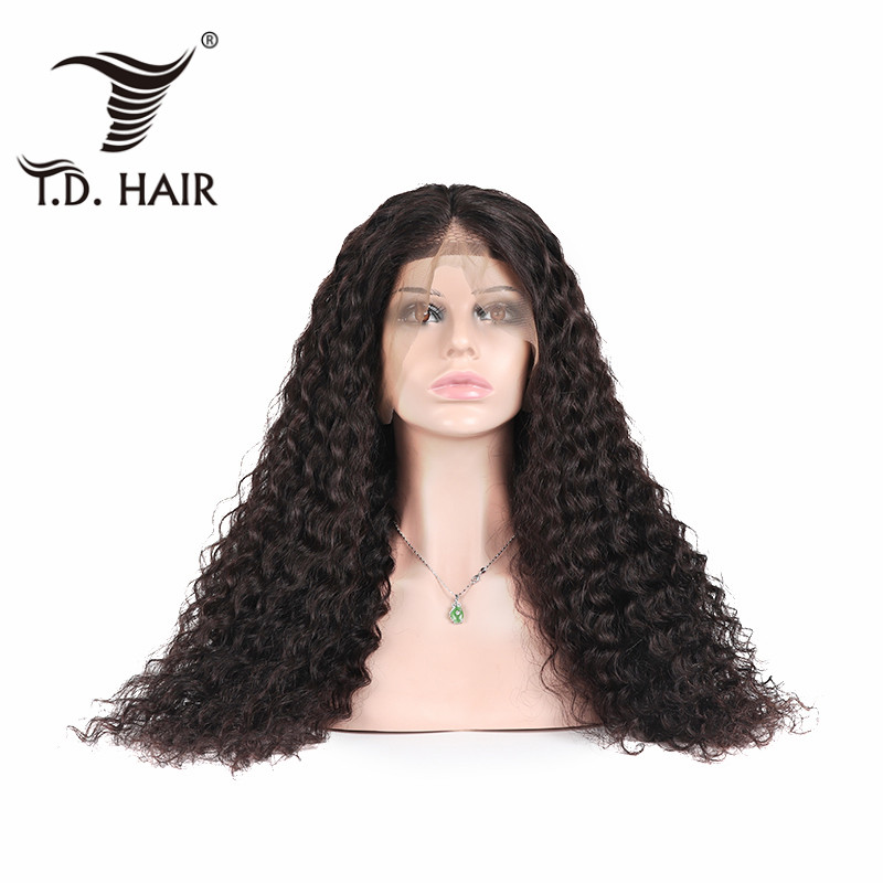 TD 150% 180% 200% Brazilian Curly Wigs With Baby Hair Natural Water Wave Human Hair Wigs Lace Frontal Remy Wig For Black Women