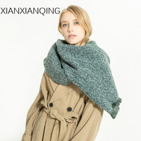 XIANXIANQING Thickning Women Winter Solid Warm Scarf Lady Shawls Fake Cashmere Capes Poncho Street Fashion Blanket