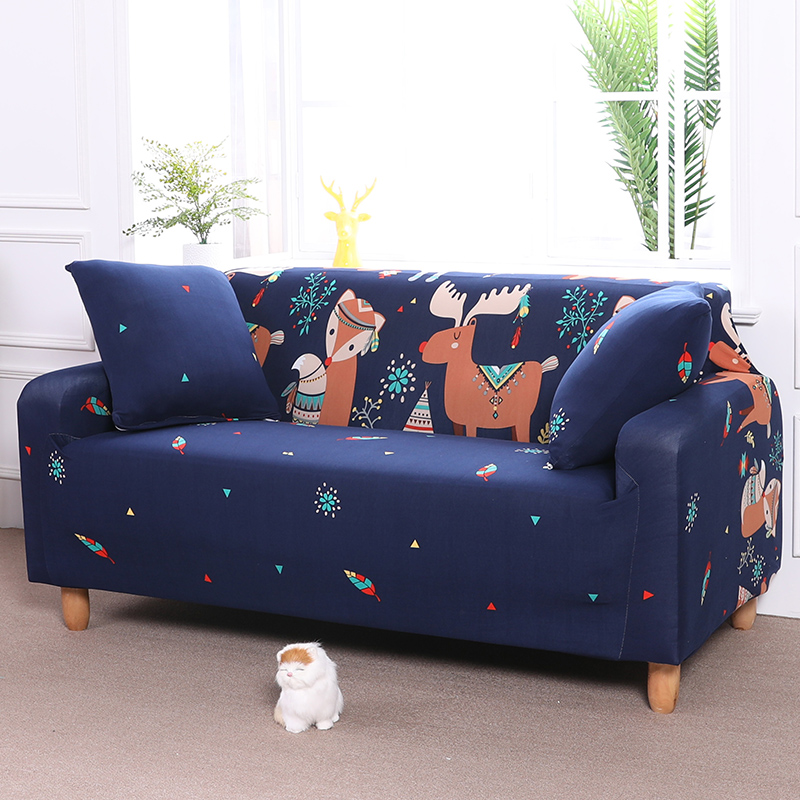 Dark Blue Universal Sofa Cover Printed with Animals for Living Room