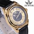 SEWOR Luxury Brand Watches Classic Fashion Mens Date Automatic Mechanical Watch Analog Balck Leather Business Men Wristwatch