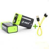 2PCS ZNTER 400mAh USB 9V rechargeable lithium battery 6F22 rechargeable lithium polymer battery + 1PCS Micro USB charging cable