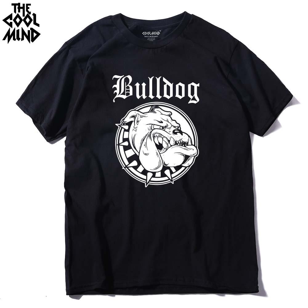 COOLMIND BU0111A 100% KATOEN o hals Bulldog print mannen t-shirt - Herenkleding - Foto 2