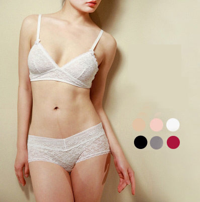 0935919501 Ultra-thin wireless triangle lace cup sexy bikini bra set white grey  wireless underwear