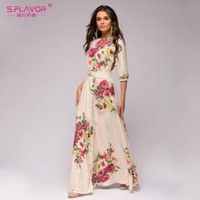 S.FLAVOR Floral Printed Women Long Dress Bohemian Style Autumn Maxi Vestidos De 2020 Winter Women Casual Dress