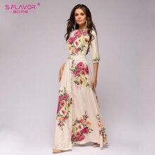 S. טעם פרחוני מודפס נשים ארוך שמלה בוהמי סגנון סתיו מקסי Vestidos דה 2020 חורף נשים מזדמן שמלה