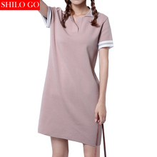 Free shipping 2016 new summer fashion women high quality retro mixed colors ice silk knit Preppy styel polo Dress green&pink