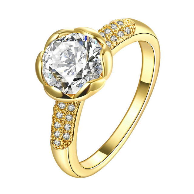 Real 24k Gold Filled Wedding Rings For Women Flower Shaped Inlay 1 5 Carat Cz Diamant