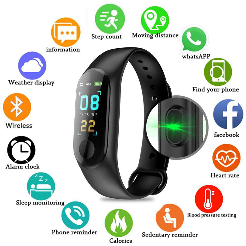 Pedometer M3 Plus Smart Sports Wristband Men Women Fitness Bracelet Watch Waterproof Running Walking Step Counter Health Band