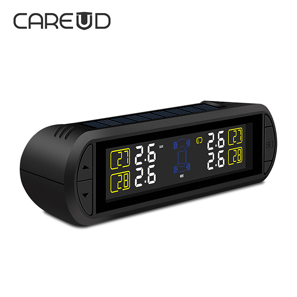 все цены на CAREUD T670 Solar Power Car TPMS Tire Pressure Monitoring System with 4 sensors and Wireless Real-time Alarm LCD Display онлайн