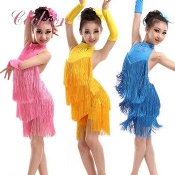 1ffff7c1 Vestido de baile latino chicas flecos Salsa/salón de baile/Tango/Cha/Rumba/ Samba/vestidos Latinos para fiesta de baile princesa 2018 rojo azul