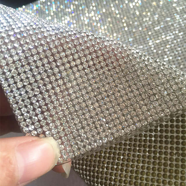 SS8 Clear Crystal Rhinestone Beaded Trim Diamond Mesh Hotfix or self  ADHESIVE roll 12feae717022