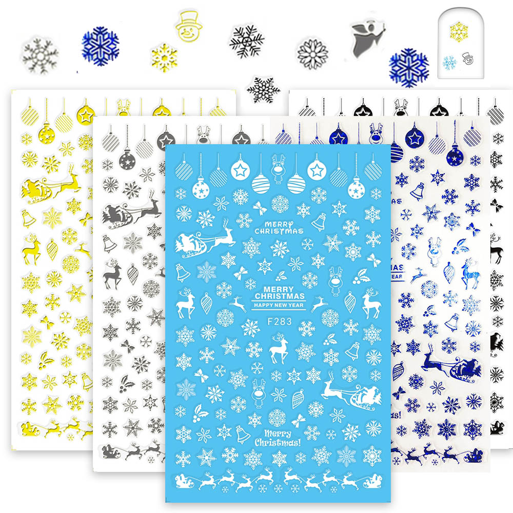 1 Sheets Nails Xmas Designs 3D Snow Flower Nail Sticker Blue/Black/White/Silver/Gold DIY Adhesive Stamping Nail Decor CHF281-284