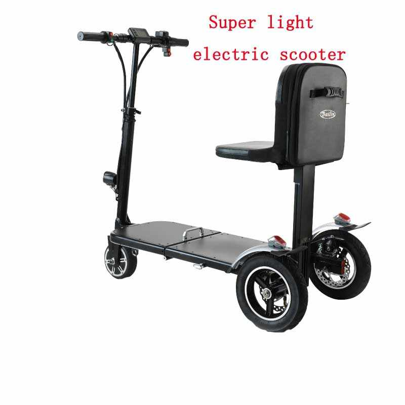 Fashion elderly electric tricycle battery car houseuse disabled elderly folding light electric scooter with backpack