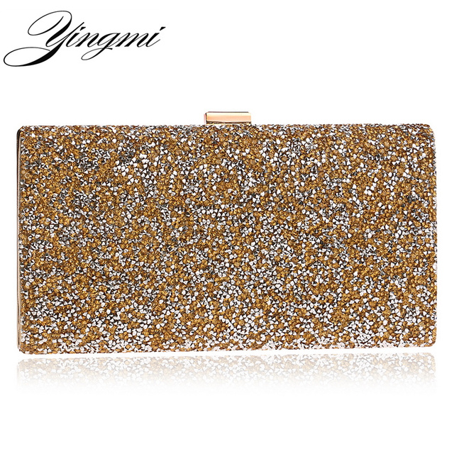 Yingmi Rhinestones Evening Bags Chain Messenger For Wedding Party Crystal Mixed