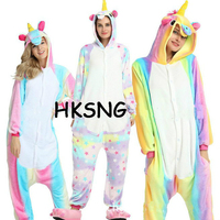 HKSNG 2017 New Adult Rainbow Unicorn Pajamas Winter Pastel Dream Animal Kiguruma Flannel Footed Onesie Pyjamas