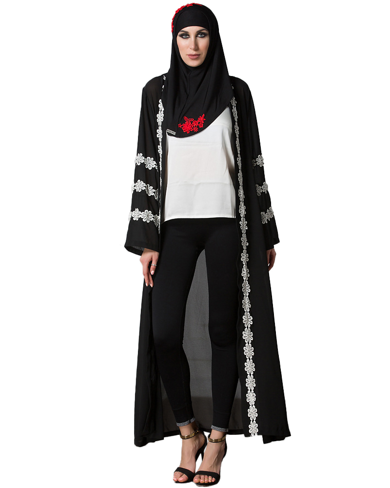 Women Plus Size Dress Muslim Robe Cardigan Crochet Lace Dresses ...