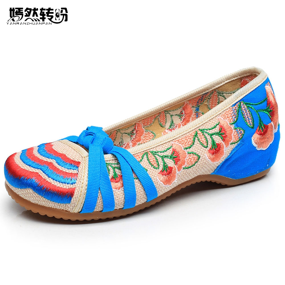 Women Flats Shoes Floral Embroidery Cloth Soft Slip On Old Beijing Dance Ballet Single Shoes For Woman Zapatos Planos Mujer women flats summer new old beijing embroidery shoes chinese national embroidered canvas soft women s singles dance ballet shoes