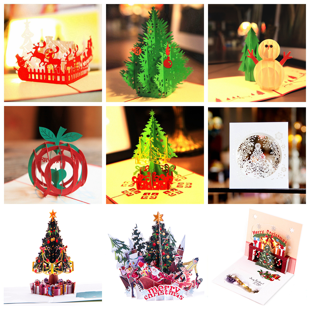 Wedding & Anniversary Bands 3d Pop Up Santas Sleigh Greeting Card Merry Christmas Wedding Postcard Gift Craft Paper 10*15cm Jewelry & Watches