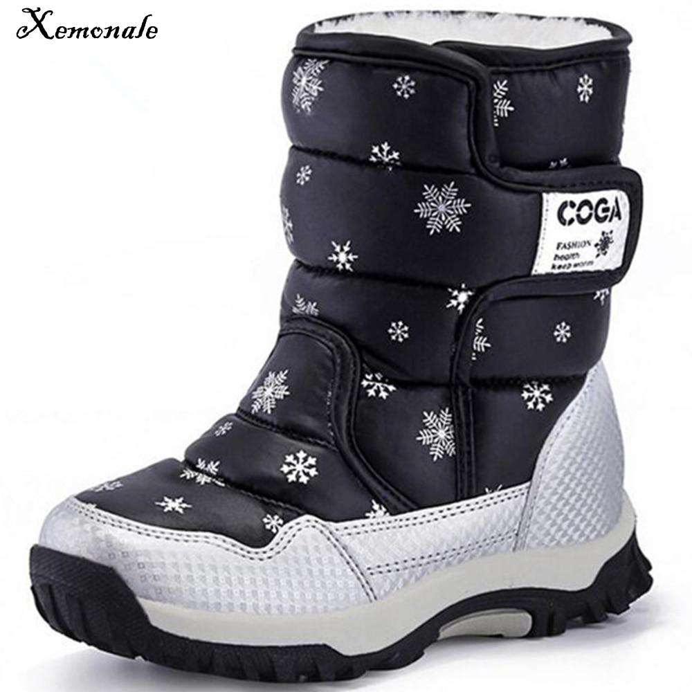 Xemonale haute qualité enfants bottes 2018 nouvelles filles bottes garçons imperméable antidérapant neige bottes enfants hiver chaussons taille 27-36 A80