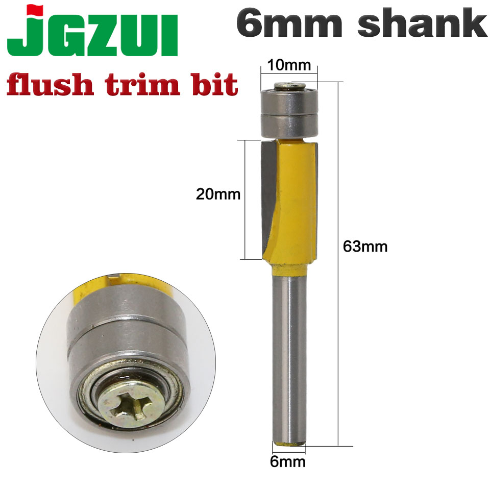 1pcs 6mm Shank Flush Trim Router Bits For Wood Trimming Cutters With Bearing Woodworking Tool Endmill Milling Cutter