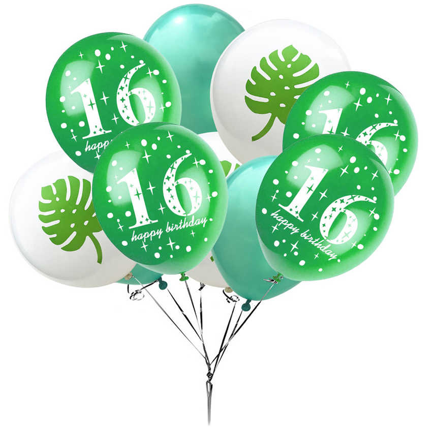 10pcs 16th Birthday Latex Balloons Party Decoration Flamingo Pineapple Leaves Balloon Anniversary Age 16 Year Old