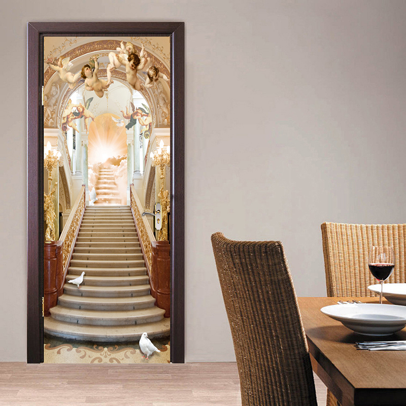 Angel Stairs European Style Living Room 3D Door Sticker Wall Mural Wallpaper PVC Waterproof Self-adhesive Door Stickers Painting