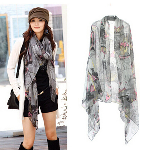 Free Shipping ! 2015 New 6 Styles  Arrival Autumn -summer Women Shawl Girl Ice Silk Stole Tassel  Wrap Flower Scarf