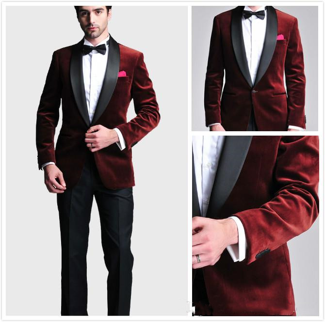 Burgundy Velvet Slim Fit Groom Tuxedos Wedding Suits Custom Made Groomsmen Best Man Prom Suits Black Pants (Jacket+Pants+Bow Tie