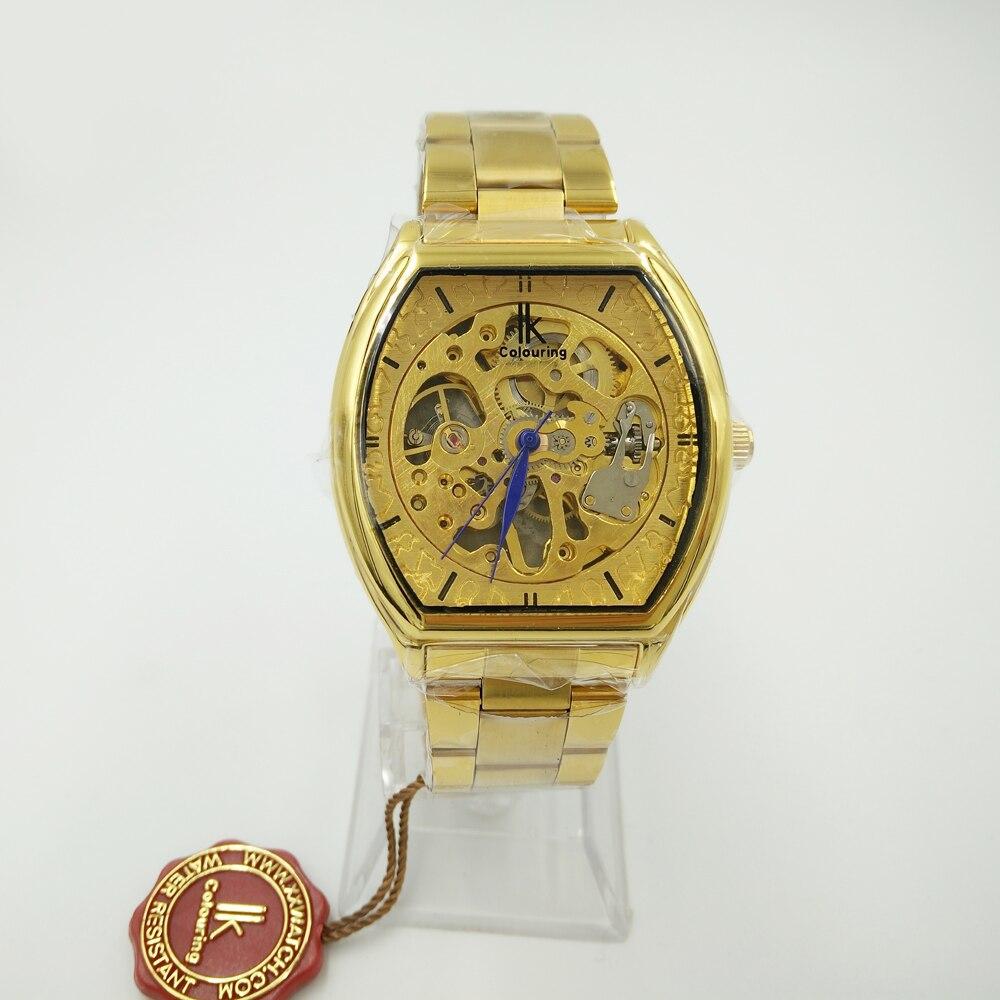 d663aeb7dc9 IK Colouring Relógios Esqueleto Relógio Mecânico Relógio de Aço Inoxidável  Dos Homens Top De Luxo Da Marca Ouro Quadrado Relógios Relogio masculino em  ...